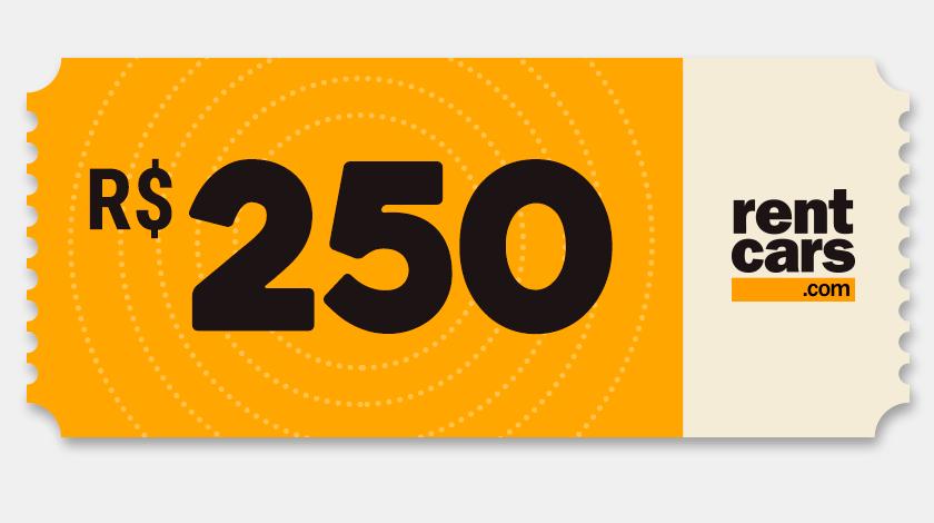 Voucher de Desconto - Rentcars - R$250